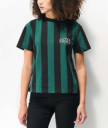 Ragged Jeans Priest Leader Green & Black Striped Crop T-Shirt