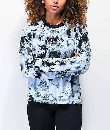 Ragged Jeans Purpose Blue & Black Tie Dye Long Sleeve T-Shirt