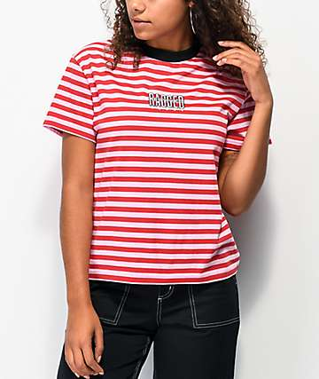 Ragged Jeans Reach Pink Stripe T-Shirt