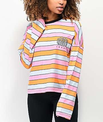 Ragged Jeans Worthy camiseta corta de manga larga rosa, azul y naranja