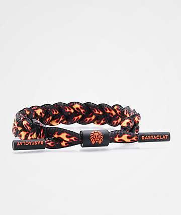 Rastaclat Flames pulsera negra y naranja