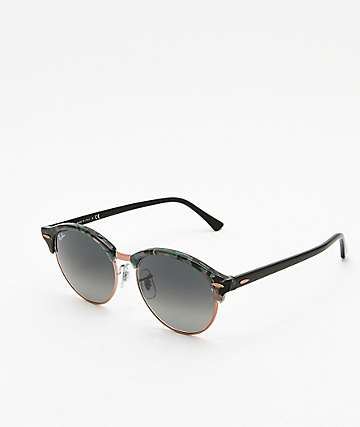 Ray-Ban Clubround Spotted Grey & Green Sunglasses