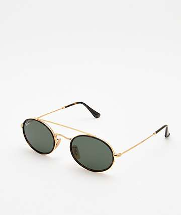Ray-Ban RB3847N Oval Gold & Green Sunglasses