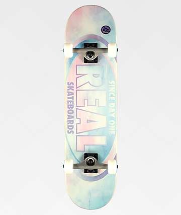 """Real Team Oval Watercolor 8.0"""" Skateboard Complete"""