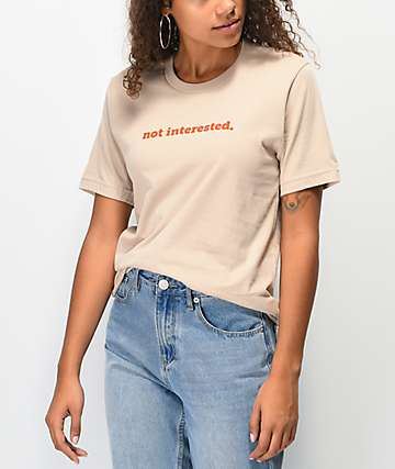 Rebel Soul Not Interested Khaki T-Shirt