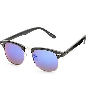 Retro Matte Black & Blue Mirror Sunglasses