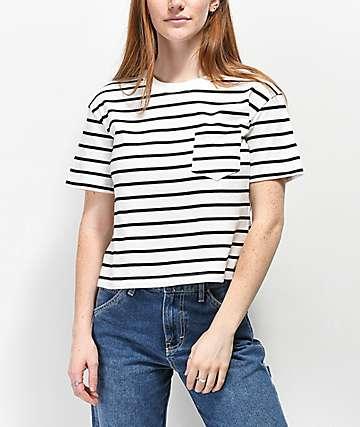 Rewash Black & White Stripe Boxy Crop T-Shirt