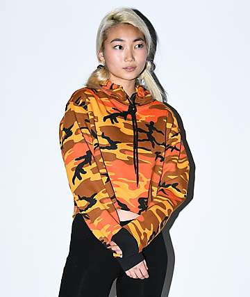 Rothco Orange Camo Crop Hoodie