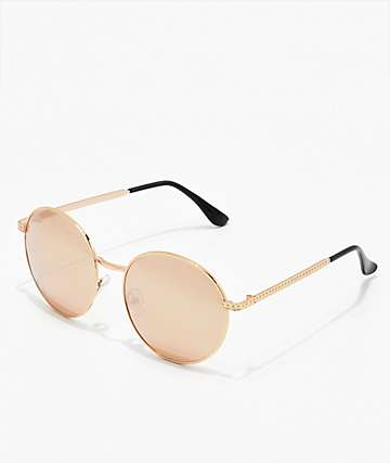 Round Divya Rose Gold Sunglasses
