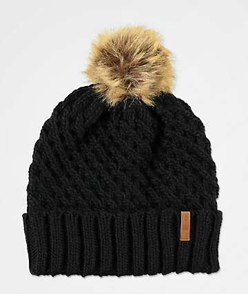 Roxy Blizzard Black Pom Beanie