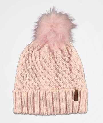 Roxy Blizzard Pink Pom Beanie