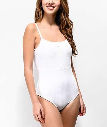 Roxy bañador de una pieza blanco brillante