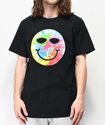 Roy Purdy Happy Face Black & Tie Dye T-Shirt