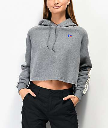 Russell Athletic Claire Heather Grey Crop Hoodie