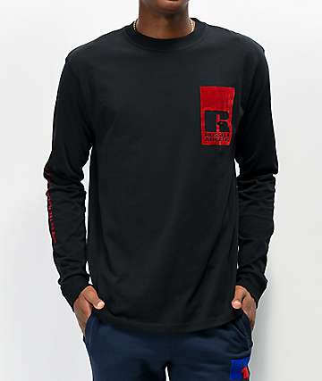 Russell Athletic Leandro Flock Black Long Sleeve T-Shirt