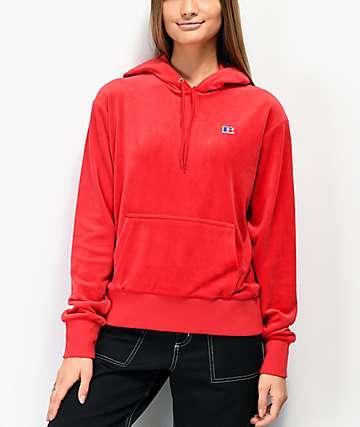 Russell Athletic Mia sudadera con capucha de terciopelo rojo