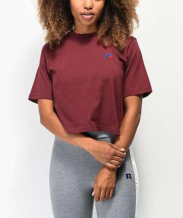Russell Athletic Olivia camiseta corta borgoña