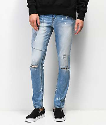 Rustic Dime Delta Zippered Light Blue Jeans
