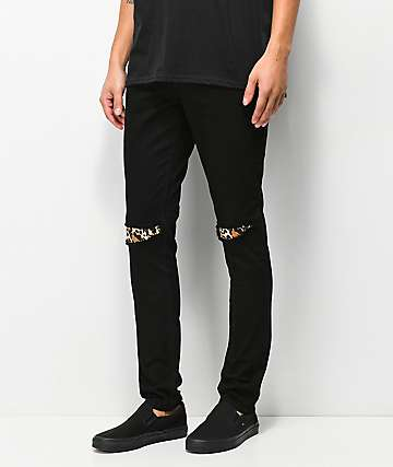 Rustic Dime Leopard Patch Black Jeans