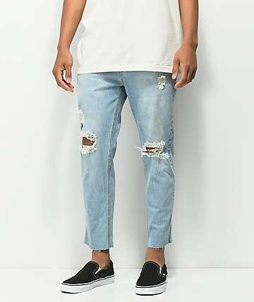 Rustic Dime Sky Crop Light Blue Jeans