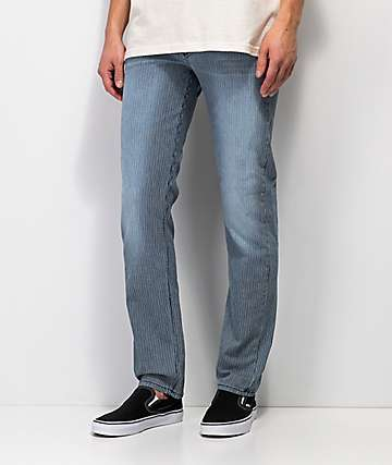 Rustic Dime Union Pacific Blue & White Pinstriped Tapered Jeans