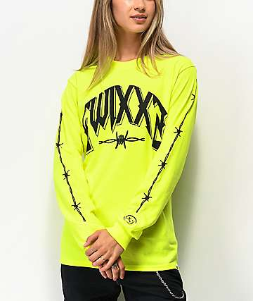 SWIXXZ Recklessly Neon Green Long Sleeve T-Shirt
