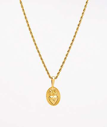 "Saint Midas Heart Circle Yellow Gold 20"" Rope Chain Necklace"