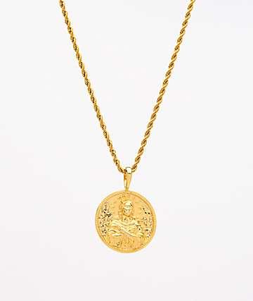 """Saint Midas Mary Immaculate collar de cadena de cuerda de 20"""" de oro amarillo"""