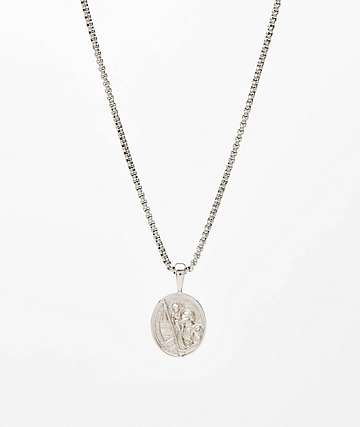"Saint Midas St. Christopher White Gold 20"" Necklace"
