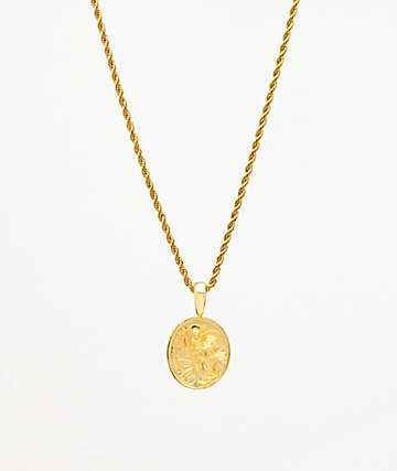 "Saint Midas St. Christopher Yellow Gold 20"" Rope Chain Necklace"