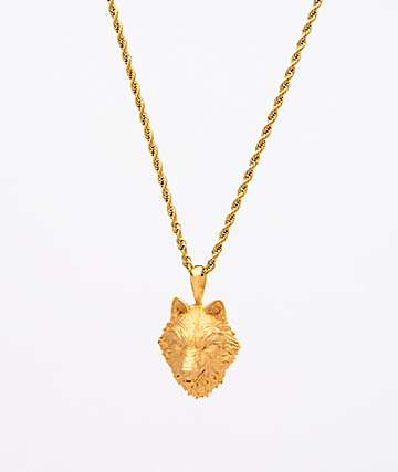 "Saint Midas Wolf Head Yellow Gold 20"" Rope Chain Necklace"