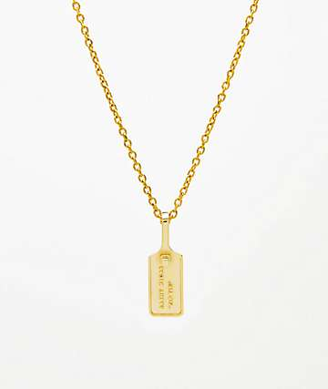 "Saint Midas Zip Tie Pendant Yellow Gold 22"" Necklace"