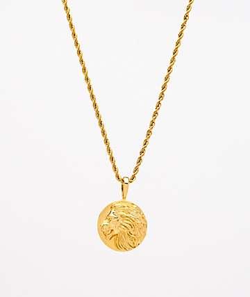 "Saint Midas collar de cadena de cuerda de 20"" de oro amarillo con medallón de león"
