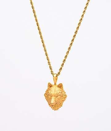"""Saint Midas collar de cadena de cuerda de oro amarillo de 20"""" con cabeza de lobo"""