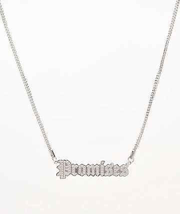 "Saint Midas x Broken Promises Iced Slogan 20"" Silver Herringbone Chain Necklace"