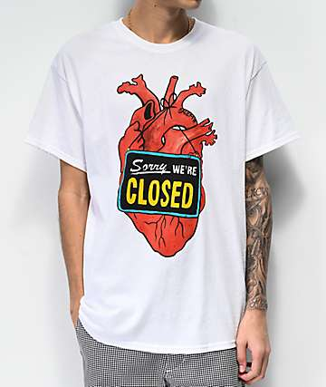 Salem7 Closed Heart White T-Shirt