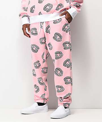 Salem7 Fangs Allover Pink Sweatpants