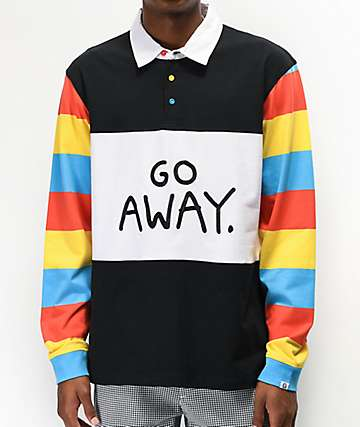 Salem7 Go Away Black, White & Multicolor Long Sleeve Polo Shirt