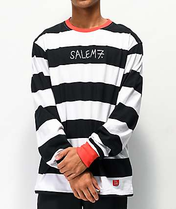 Salem7 Prisoner Black & White Stripe Long Sleeve T-Shirt