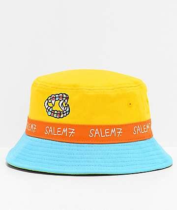 Salem7 Teeth sombrero de cubo azul y amarillo