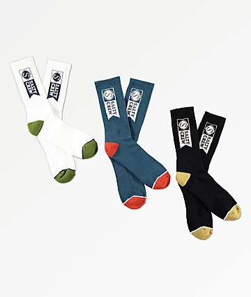 Salty Crew Alpha Black, Blue & White 3 Pack Crew Socks