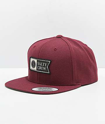 Salty Crew Alpha Stamped Burgundy Snapback Hat