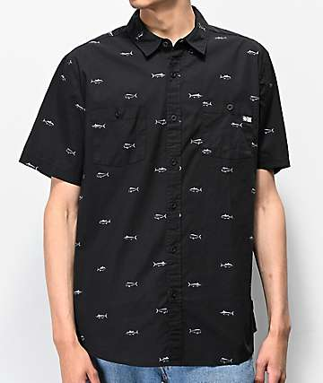 Salty Crew Market Charcoal Short Sleeve Button Up Shirt
