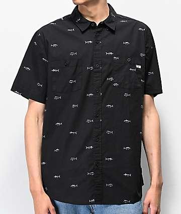 Salty Crew Market Charcoal Short Sleeve Button Up Shirt