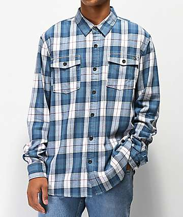 Salty Crew Spinnaker Slate Grey & Blue Flannel Shirt