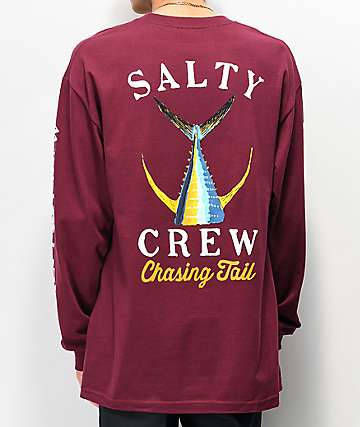 Salty Crew Tailed Burgundy Long Sleeve T-Shirt