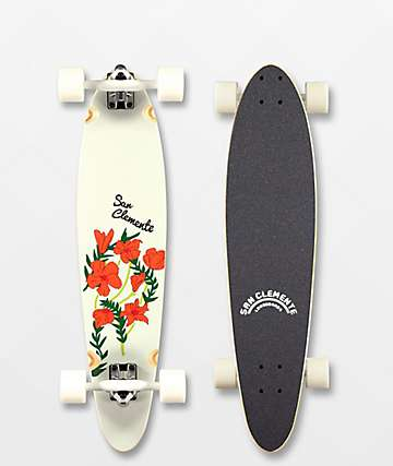 """San Clemente Poppies 34"""" Pintail Longboard Complete"""