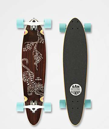 """San Clemente Tiger Lily 34"""" Pintail Longboard Complete"""