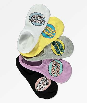 Santa Cruz 5 Pack Pop Dot No Show Socks