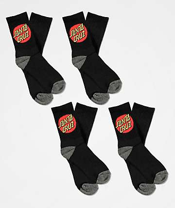 Santa Cruz Boys 4 Pack Black Crew Socks